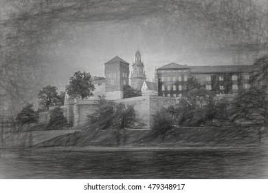 Drawing, illustration Wawel Castle and Vistula river in Krakow, Poland