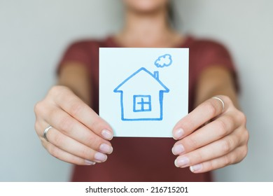 drawing image house in hand