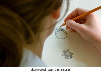 Drawing Jewelry Design on paper .  Design Studio. Creativity Ideas.