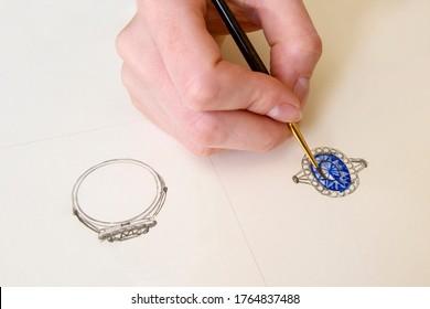 Drawing Jewelry Design. Drawing sketch jewelry on paper . Creativity Ideas. Design Studio.