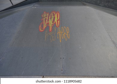 Drawing of Jude was here tagged in urban graffiti on a flat ramp