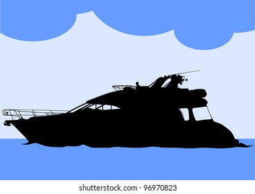 drawing of a large sea boat
