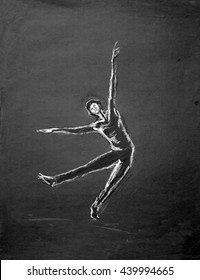 Drawing of male dancer in white lines on black, silhouette style solo contemporary dancer with outstretched arms