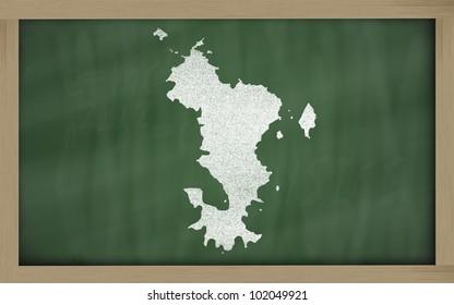 drawing of mayotte on blackboard, drawn by chalk