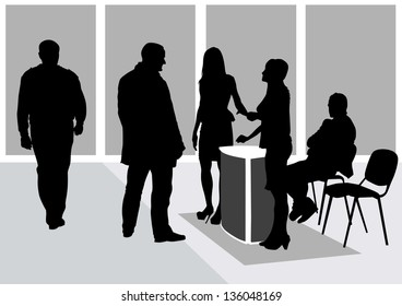 drawing men and women in working office