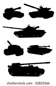 drawing of military equipment, black silhouettes against a white background