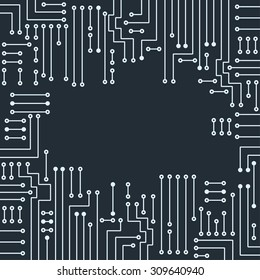 Drawing modern electronic circuit on gray background