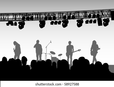 drawing musical group in concert on stage