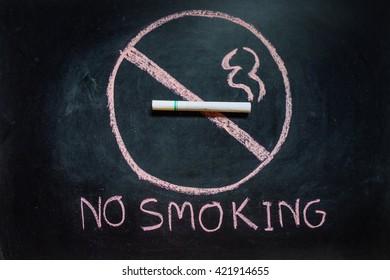 drawing is no smoking on blackboard