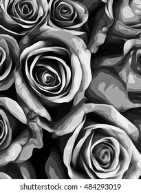 drawing and painting roses texture in black and white