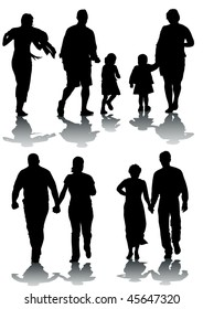drawing of parents with children. Silhouettes on white background