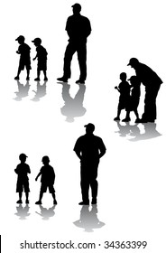 drawing of parents with young children to walk