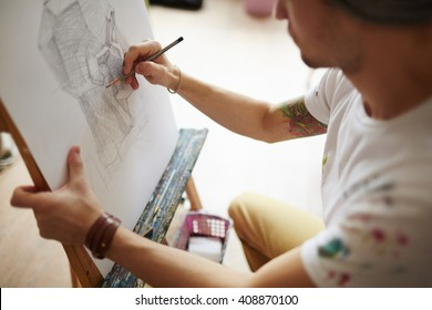 Drawing with pencil - Shutterstock ID 408870100