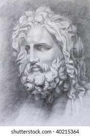 drawing in pencil antique statue