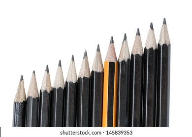 Drawing pencils in row isolated on white background