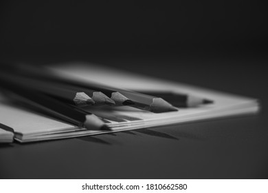 Drawing pencils with wooden easel; Black and white style - Shutterstock ID 1810662580