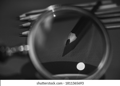 Drawing pencils with wooden easel; Black and white style - Shutterstock ID 1811365693