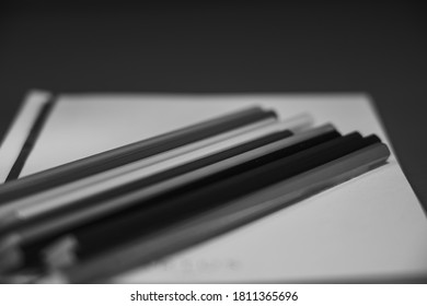 Drawing pencils with wooden easel; Black and white style - Shutterstock ID 1811365696
