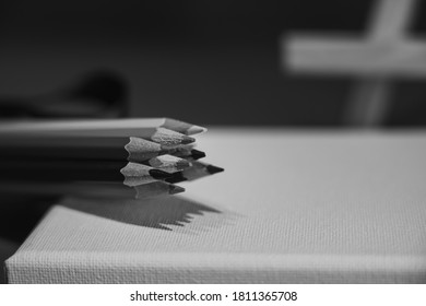 Drawing pencils with wooden easel; Black and white style - Shutterstock ID 1811365708