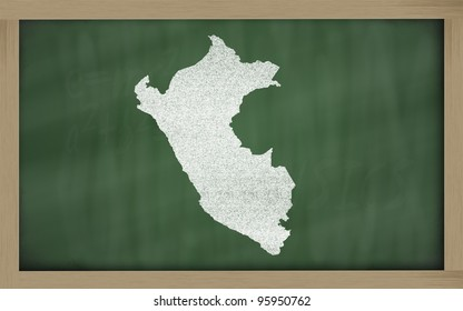 drawing of peru on blackboard, drawn by chalk