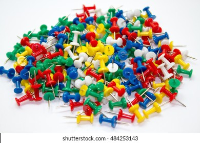 Drawing Pins in a pile, colorful,