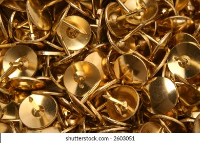 Drawing pins / thumb tacks background image, close up