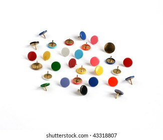 drawing pins thumb tacks in many colors isolated on white background