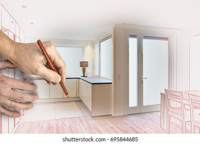 Drawing and planned of a Kitchen in renovated house