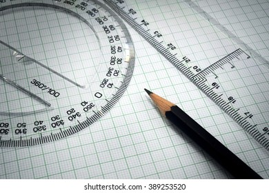 drawing, protractor and pencil