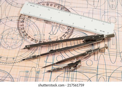 drawing, protractor, ruler and compasses
