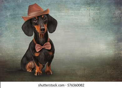 Drawing, raster illustration funny dog in cap breed  dachshund, portrait oil painting on old vintage color grunge paper background. Hand drawn home pet. Digital painting.
