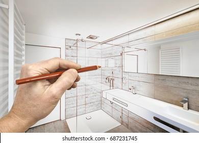Zeichnungen Renovierung eines luxuriösen Badezimmers Wohndusche