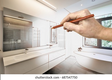 Drawing renovation of a Luxury modern bathroom, Bathtub in corian, Faucet and shower in tiled bathroom with windows towards garden