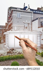Drawing renovation of a New modern extension of a house with big glasses windows and doors