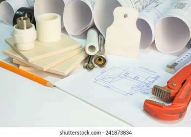 Drawing rolls, builder's level, tceramic tiles, tile drill bits, filling knife, pencil, tape measure, gas trench, pipi joints, flexible tap hose, bathroom sketch