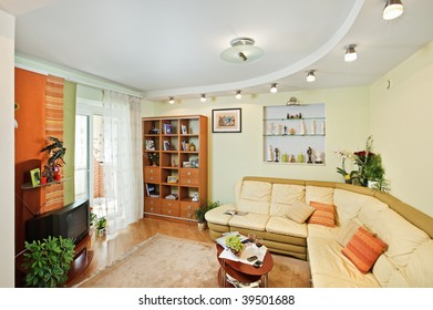 Drawing room Interior with beige corner leather Sofa
