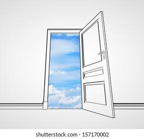 drawing room with opened door to sky