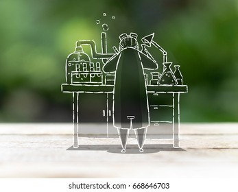 Drawing of scientist working on experiment in lab, illustration mixed with photograph style, science experiment concept