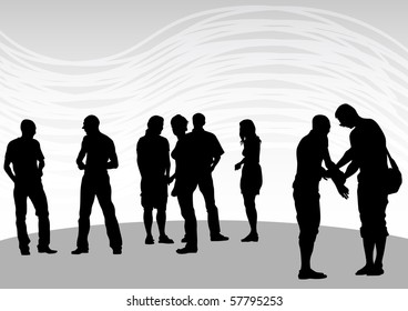 drawing silhouette crowds man and women