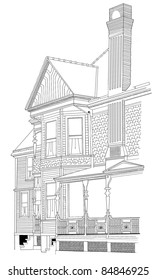 A drawing or sketch of an early Victorian type home with lots of brick and gingerbread architectural features.