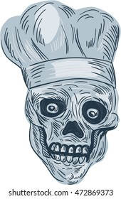 Drawing sketch style illustration of a skull chef cook wearing chef hat viewed from front set on isolated white background.