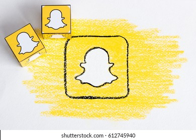 Drawing of Snapchat logo. Social network. Handmade. Pencil painted. Minsk, Belarus - March 11, 2017.