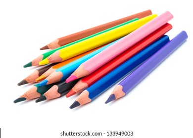Drawing supplies: assorted color pencils, isolated on white background
