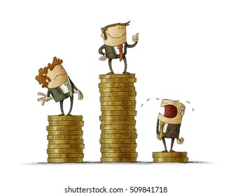 Drawing of three cartoon businessmen standing on different pedestals made of coins showing inequality isolated on white.