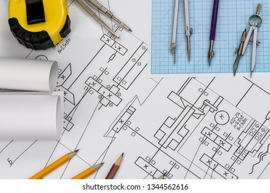 Drawing tool scale on technical sketch close up