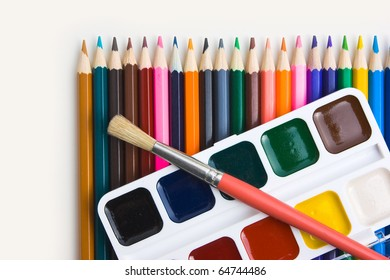drawing tools isolated on white background