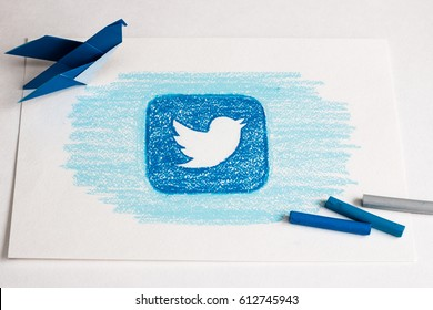 Drawing of Twitter logo. Blue bird. Social network. Handmade. Pencil painted. Minsk, Belarus - March 11, 2017.