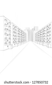 drawing of a urban street with apartment buildings