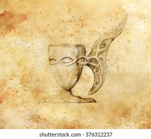 Drawing vintage goblet, draw on old paper. grungle sepia structure.