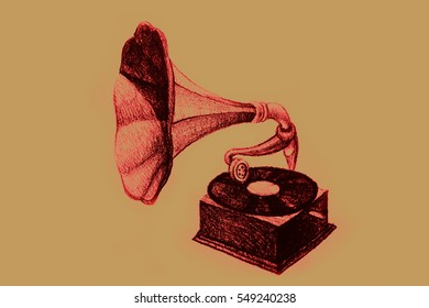 Drawing of vintage gramophone. Illustration
